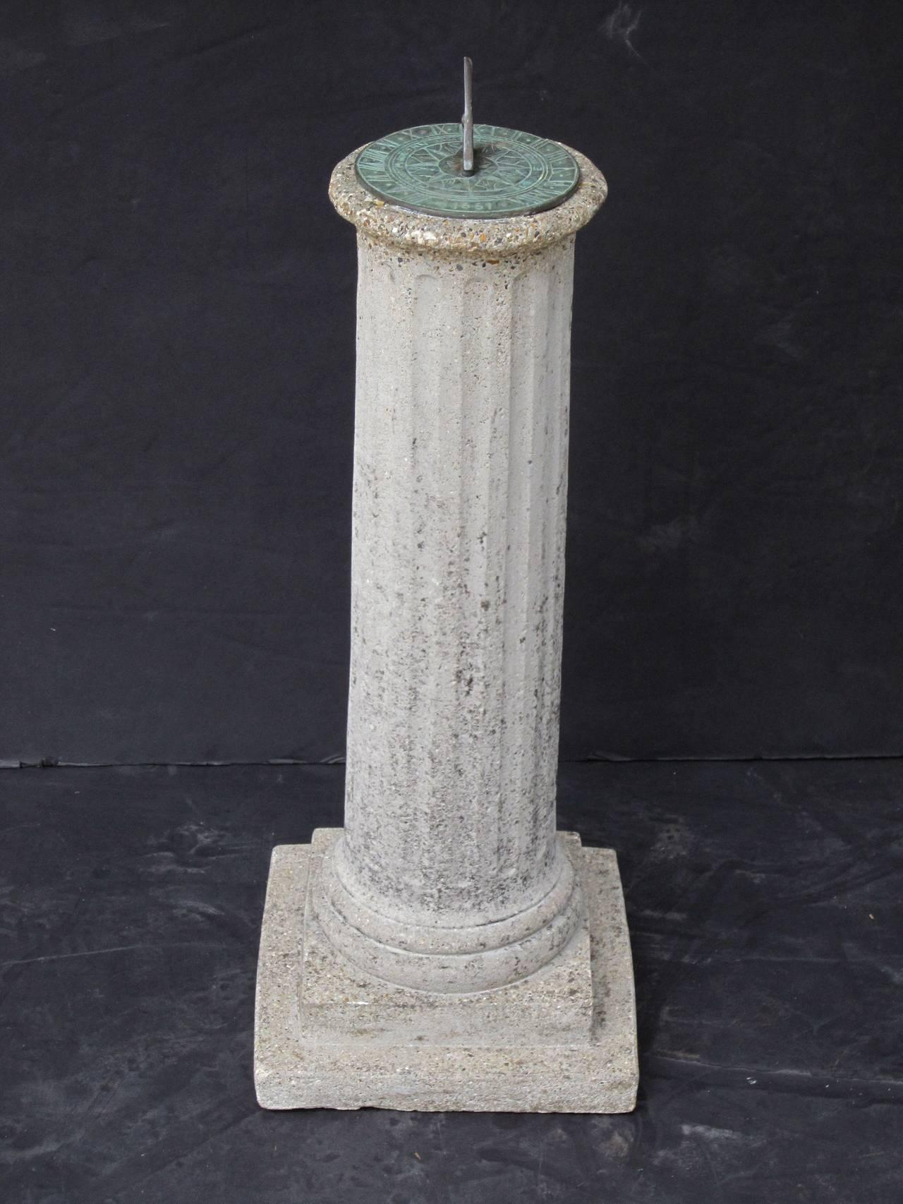 English Garden Column Sun Dial In Excellent Condition For Sale In Austin, TX