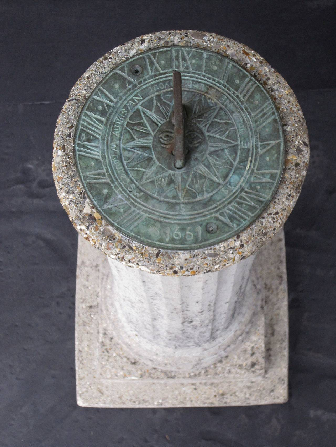 English Garden Column Sun Dial For Sale 2