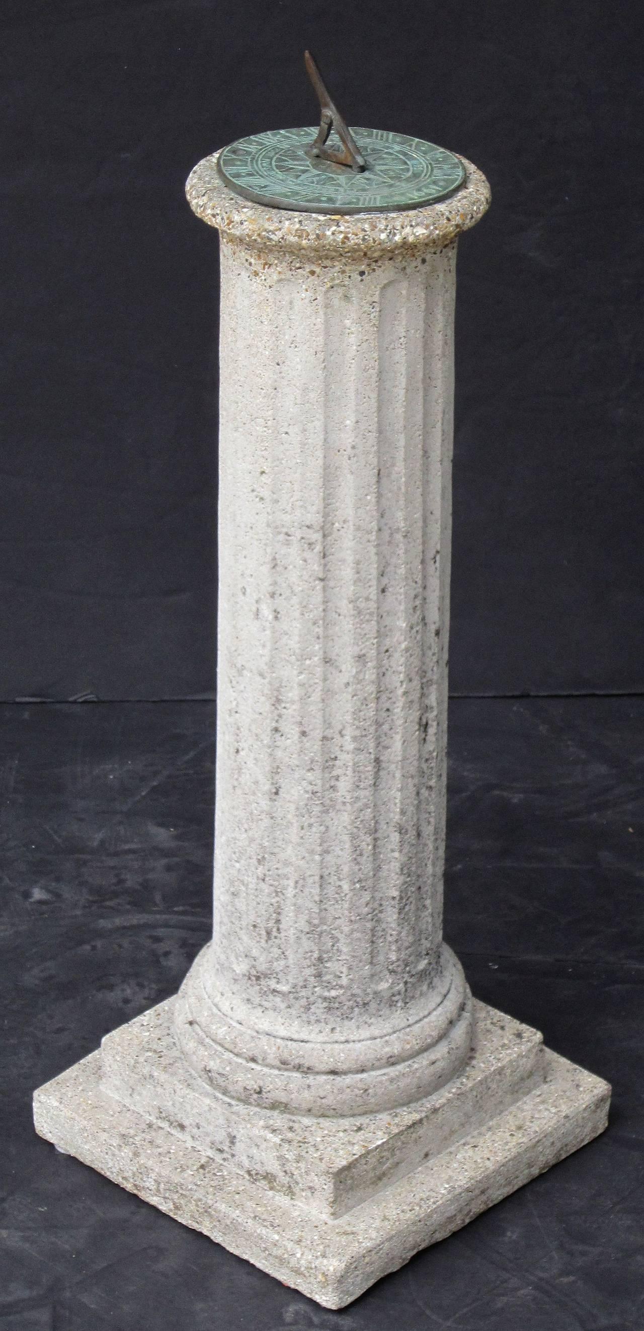 20th Century English Garden Column Sun Dial For Sale