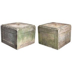 Pair of English Garden Stone Large Square Plinths (Priced as a Pair)