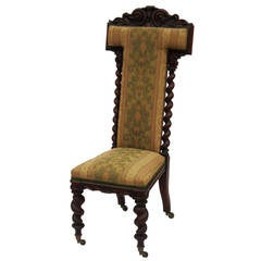 English Prayer Chair of Carved Walnut