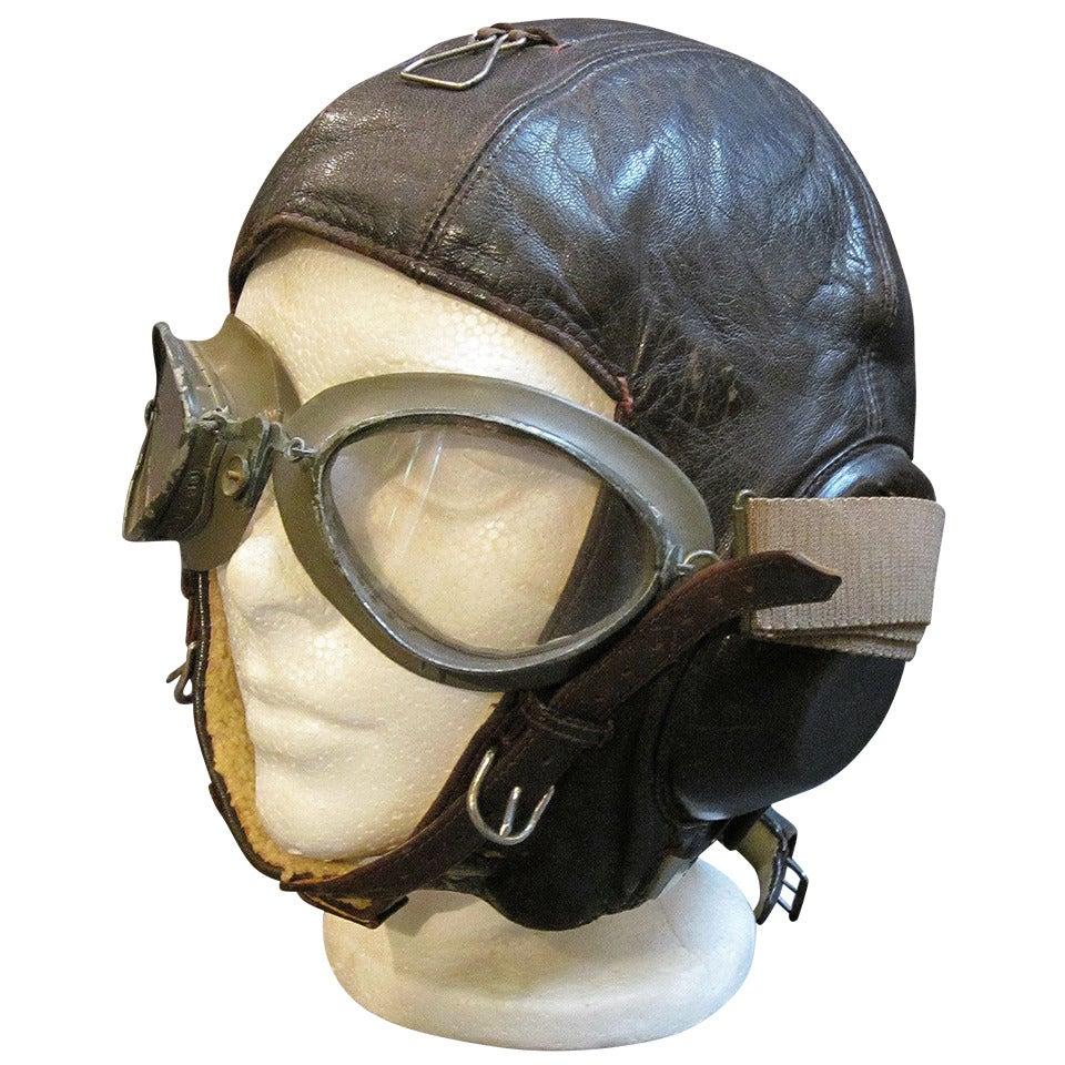 German Luftwaffe Pilot's Helmet and Goggles