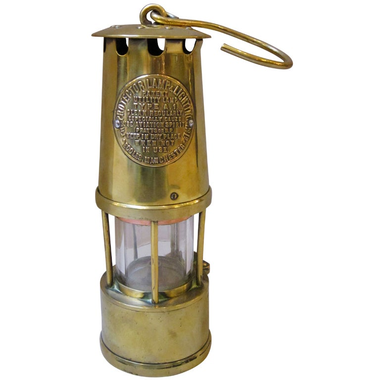English Miner S Lamp Of Brass At 1stdibs