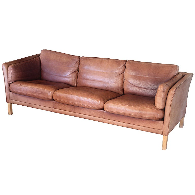 danish three seat sofa tanned leather at 1stdibs