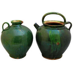 French Green Glaze Pots