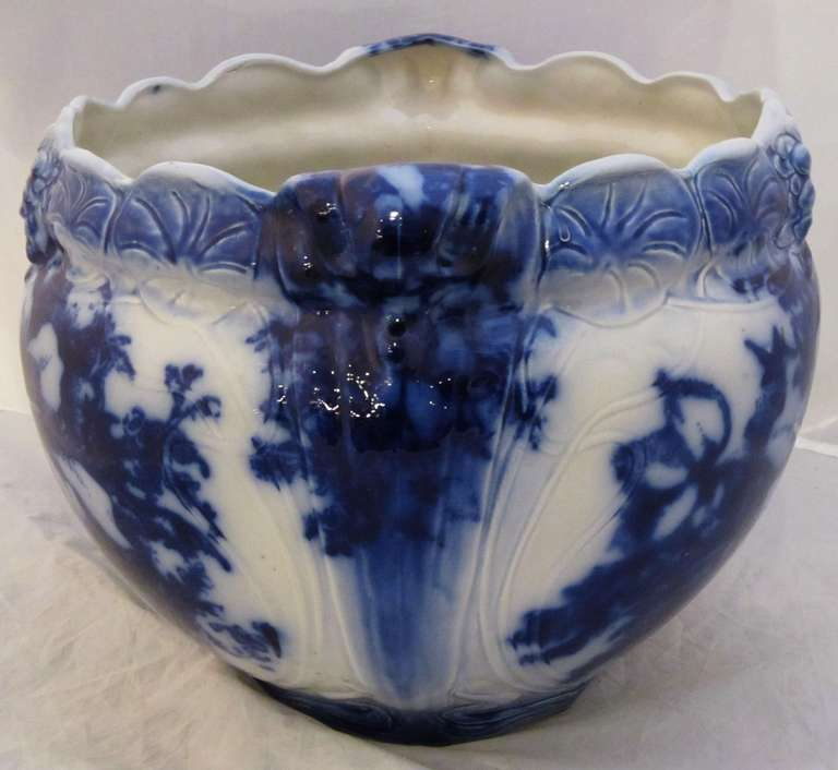 Large English Flow Blue Jardiniere Or Cache Pot At 1stdibs