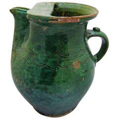 French Green Glaze Jug of Rare Form, circa 1830