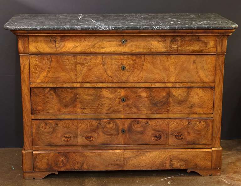 louis philippe chest or commode with marble top at 1stdibs. Black Bedroom Furniture Sets. Home Design Ideas