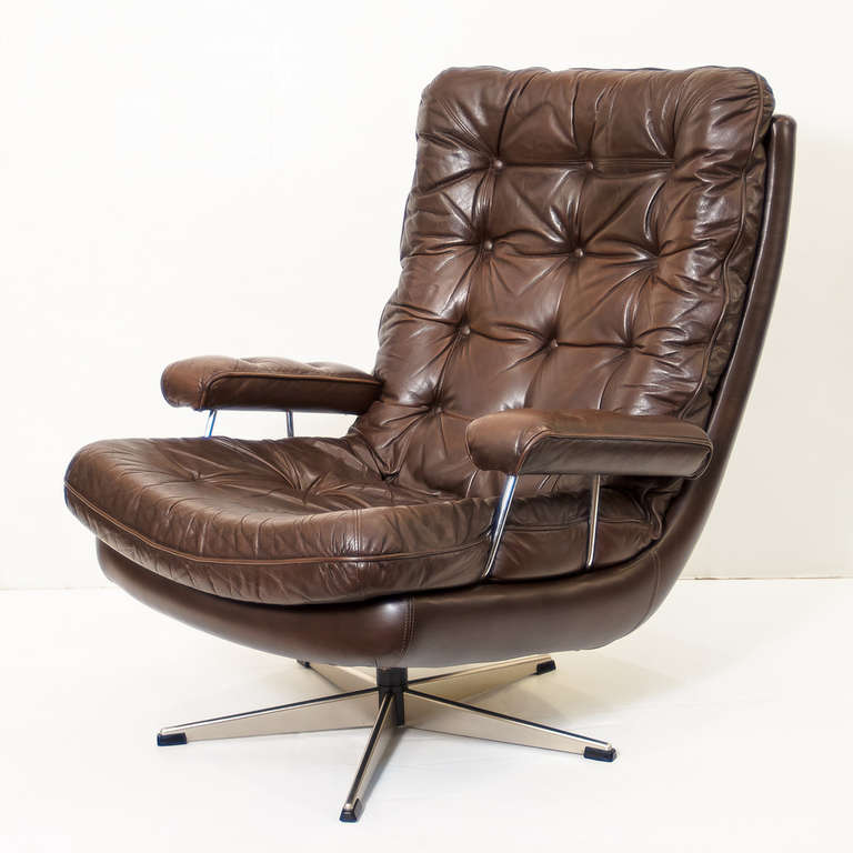 Danish Swivel Lounge Chair Of Tufted Leather One