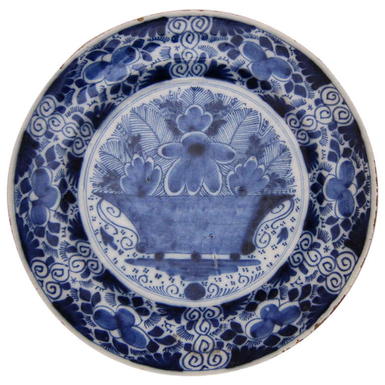 Early Delft Blue And White Charger At 1stdibs