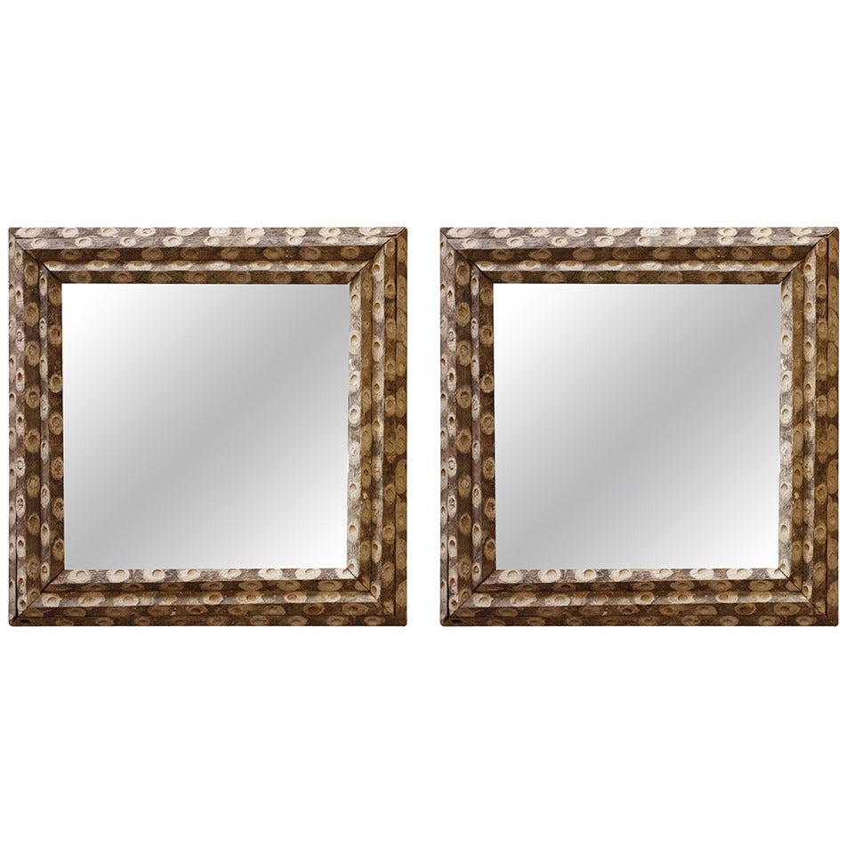 Large square oyster stick mirrors pair available at 1stdibs for Big square mirror