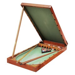 English Bagatelle Game Table and Accessories