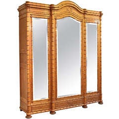 Faux Bamboo Three Door Armoire of Curly Maple