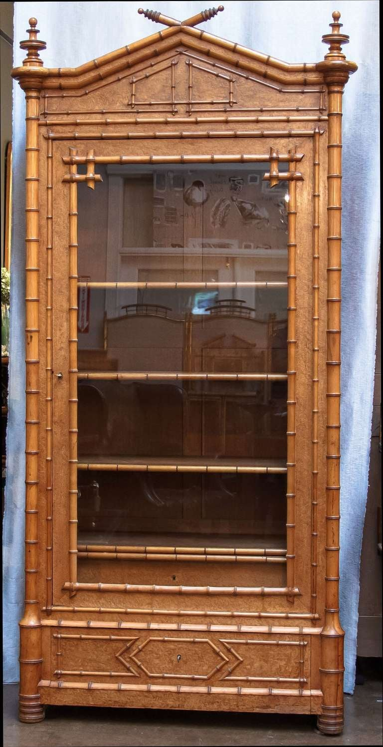 Faux Bamboo Armoire or Bookcase of Curly Maple 3