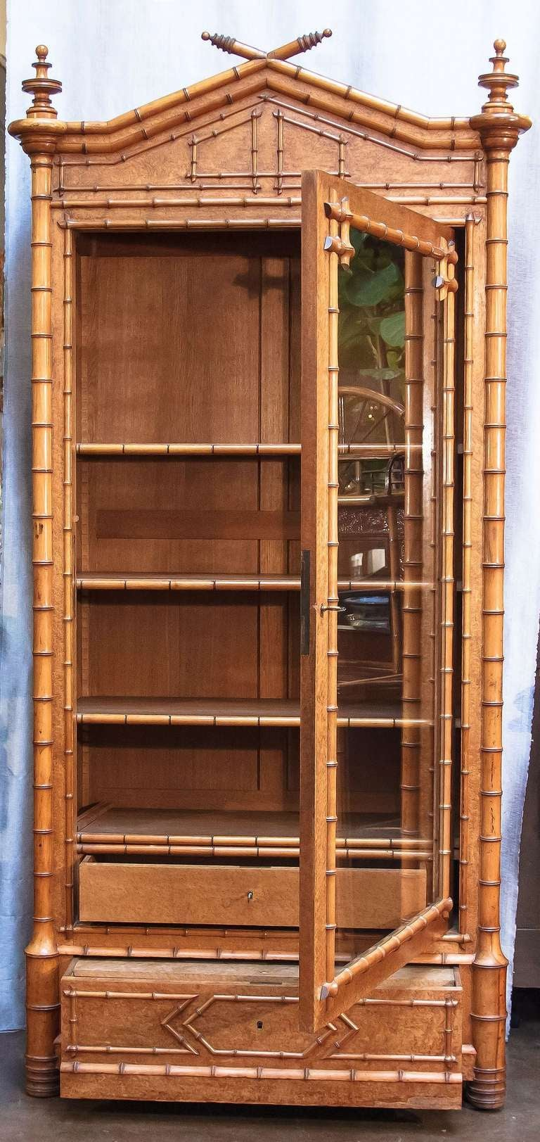 Faux Bamboo Armoire or Bookcase of Curly Maple 4