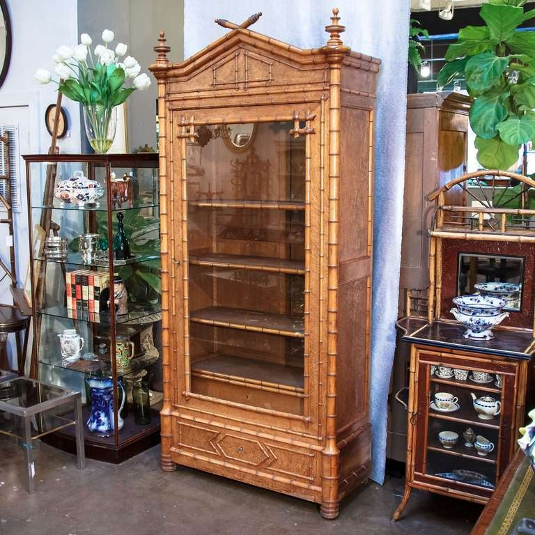 Faux Bamboo Armoire or Bookcase of Curly Maple 5