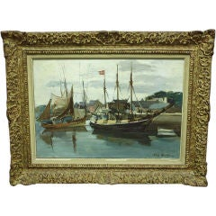 Framed Oil Painting of Ships by Constant Le Breton