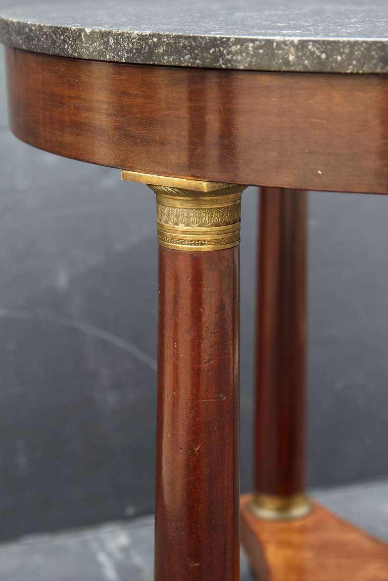 Brass French Marble-Top Table or Guéridon in the Empire Style For Sale