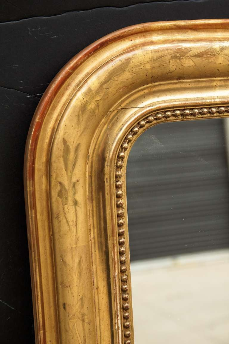 louis philippe large gilt mirror h 55 12 x w 39 3