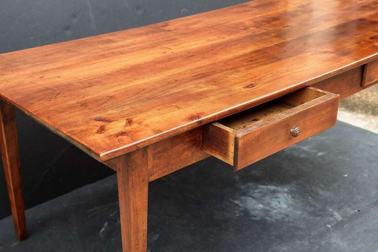 French farm table of cherry with drawers at 1stdibs for C table with drawer