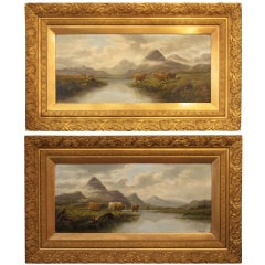 Pair of Oil Paintings of Highland Cattle by E. Heaton (Individually Priced)