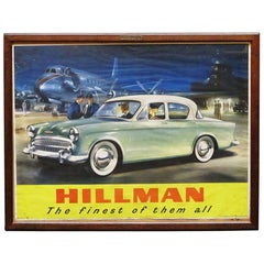 Large English Hillman Car Print, Framed Under Glass