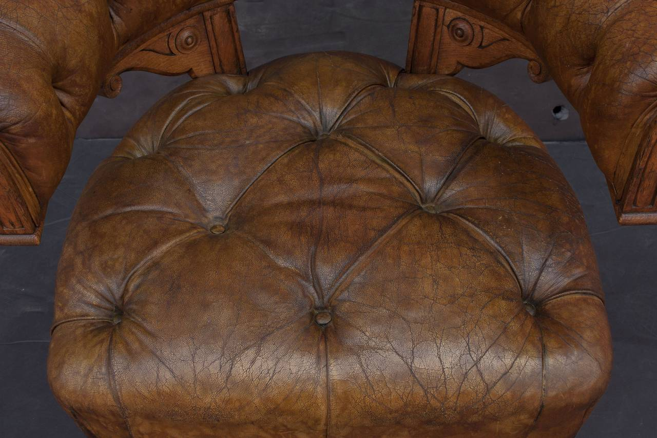 English Tufted Leather Desk Chair For Sale 5