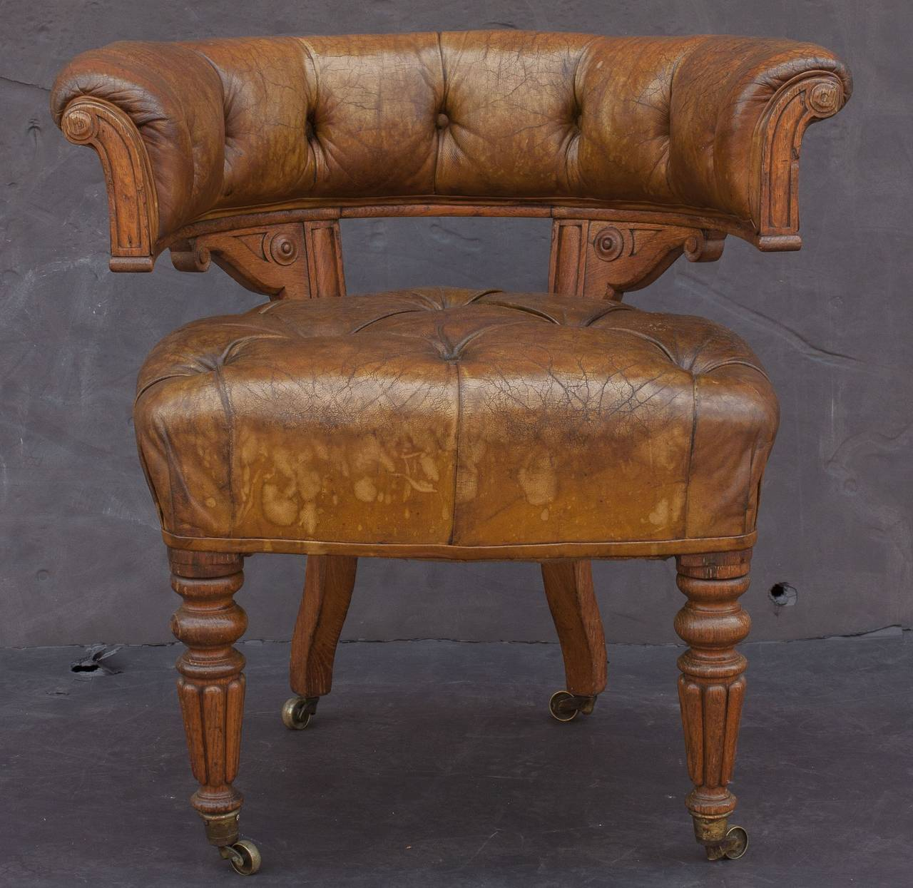 19th Century English Tufted Leather Desk Chair For Sale