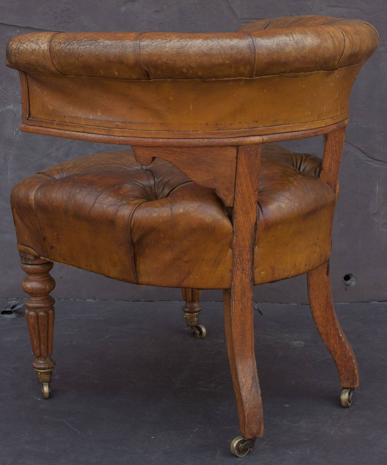 English Tufted Leather Desk Chair For Sale 3