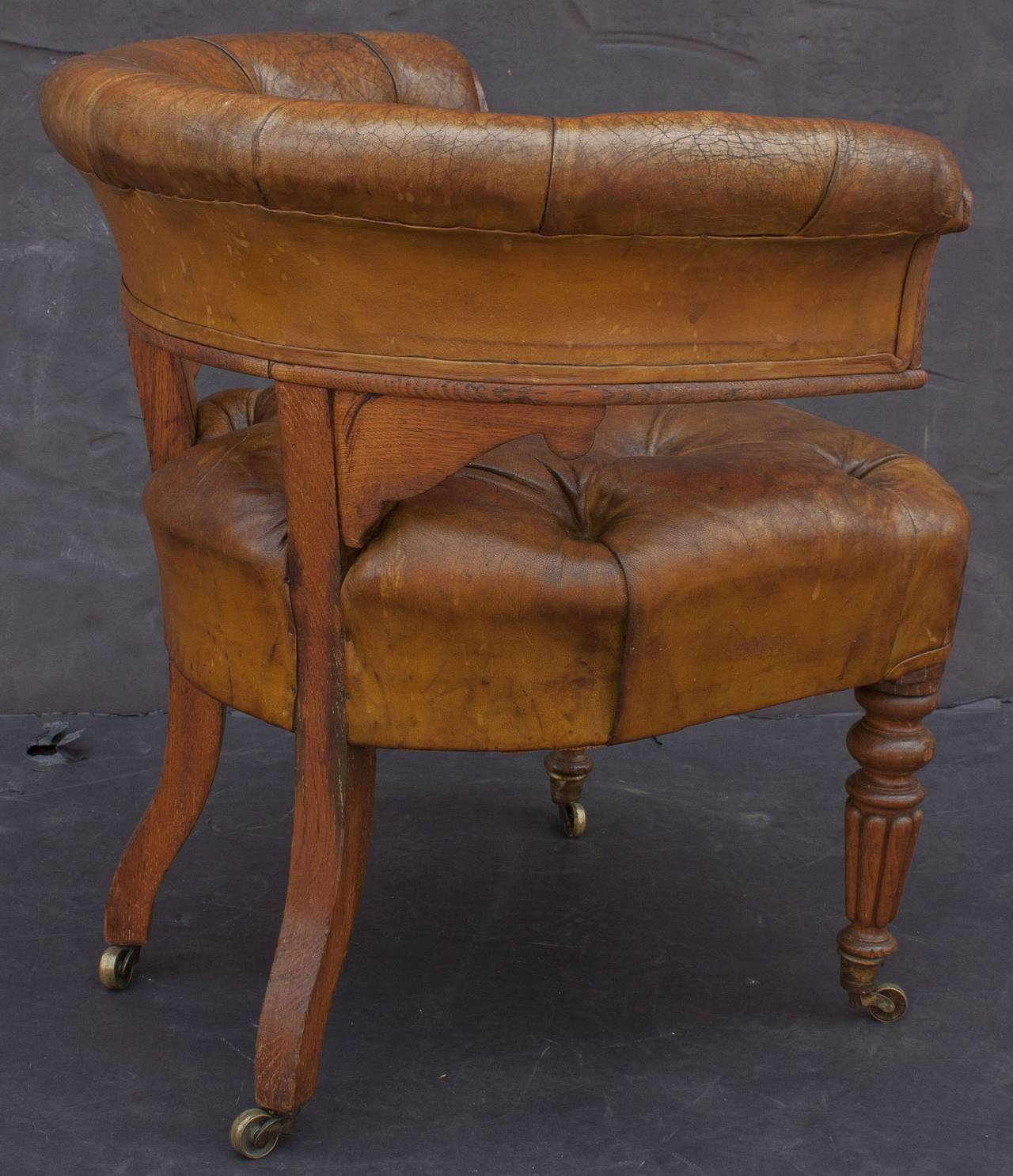 English Tufted Leather Desk Chair For Sale 1