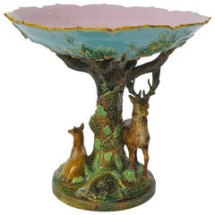 "English Majolica ""Europe"" Compote by George Jones"