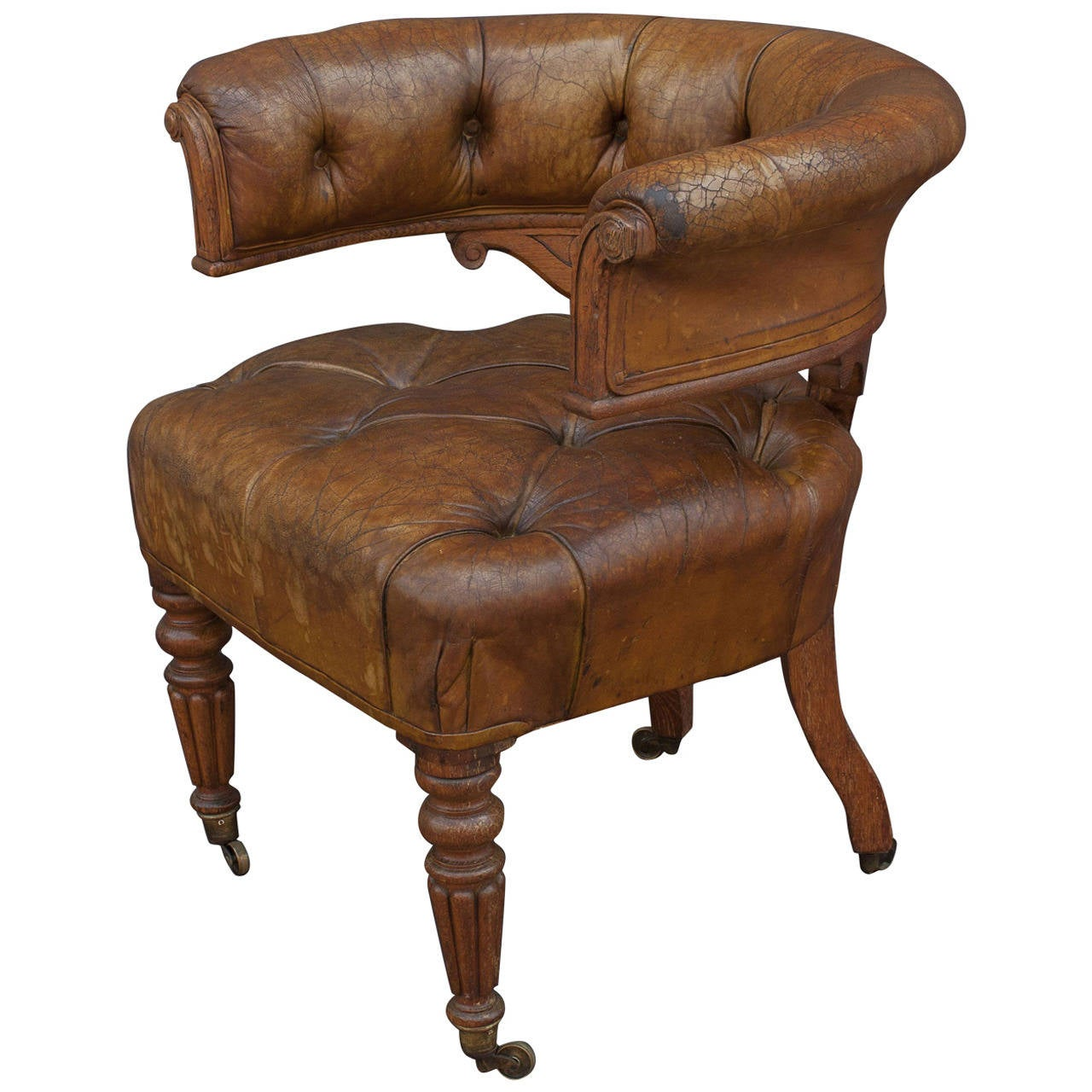 English Tufted Leather Desk Chair At 1stdibs. Full resolution‎  photo, nominally Width 1280 Height 1280 pixels, photo with #462818.