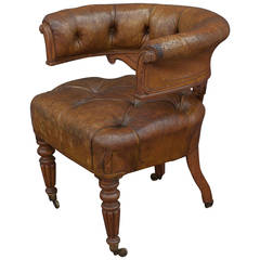 English Tufted Leather Desk Chair