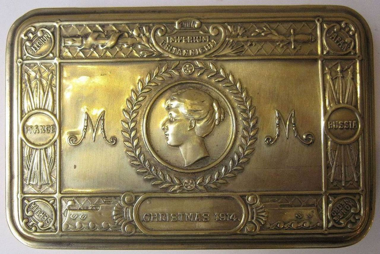 An authentic WWI-era Princess Mary box of brass.