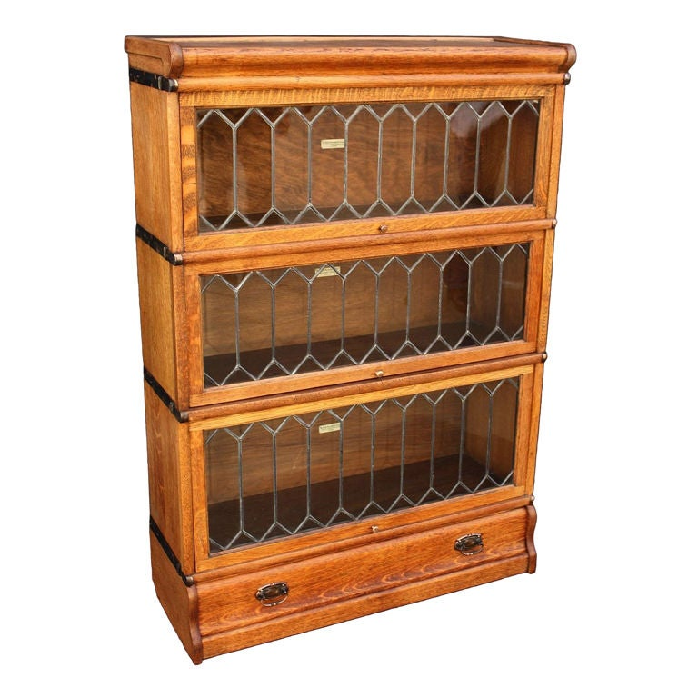 Globe wernicke stacking lawyer 39 s bookcase of oak at 1stdibs for Stacking bookcase plans