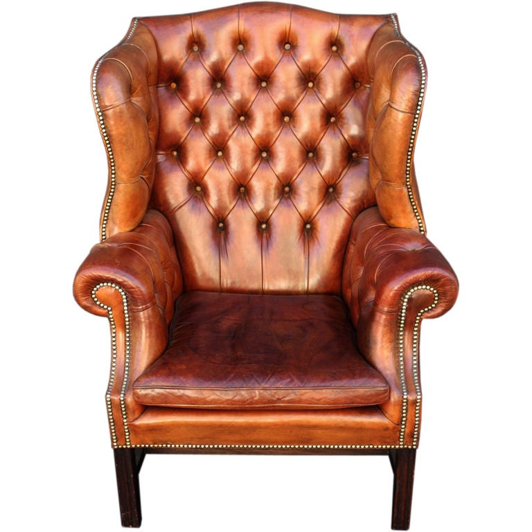 English Wingback Chair of Tufted Leather at 1stdibs