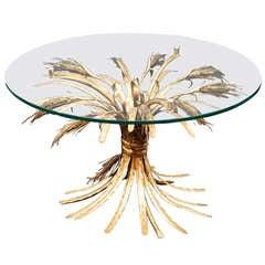 Italian Wheat Sheaf Low Table of Gilt Metal