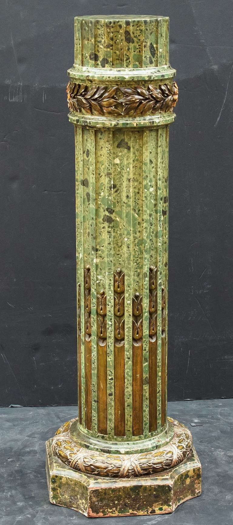 Faux Green Marble Column Pedestal Stand At 1stdibs