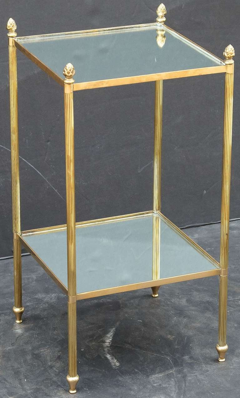 French End Table Of Brass And Glass At 1stdibs
