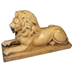 Large English Recumbent Lion of Glazed Stoneware