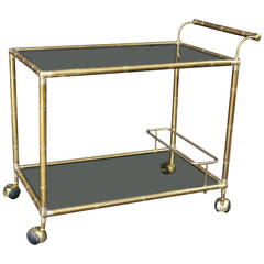 French Drinks Cart or Trolley of Brass and Smoked Glass