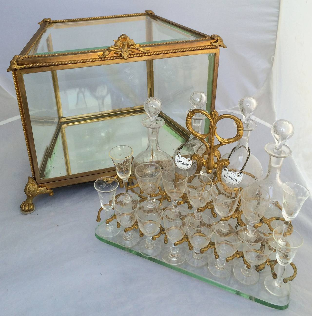 French Tantalus Drinks Set of Gilt Bronze For Sale 2