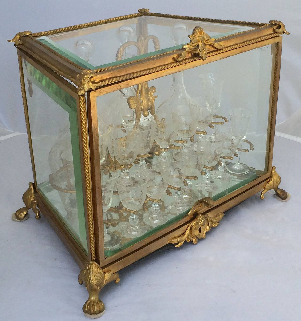 19th Century French Tantalus Drinks Set of Gilt Bronze For Sale