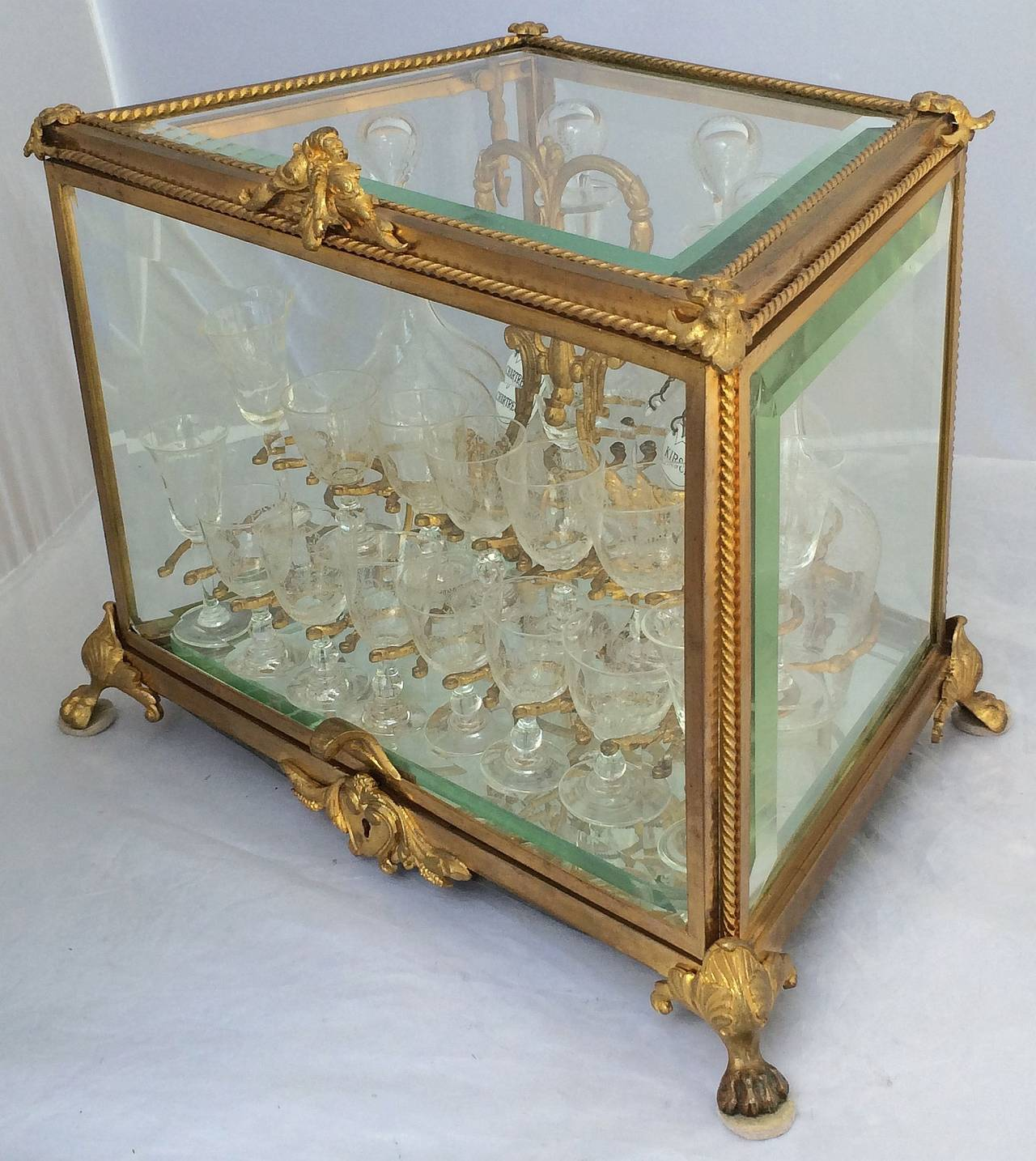 French Tantalus Drinks Set of Gilt Bronze For Sale 1