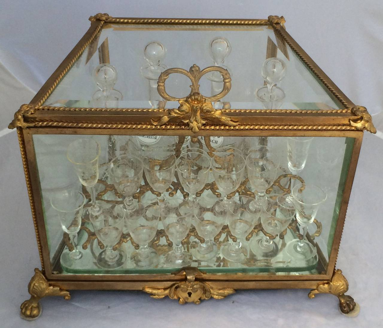 French Tantalus Drinks Set of Gilt Bronze For Sale 6