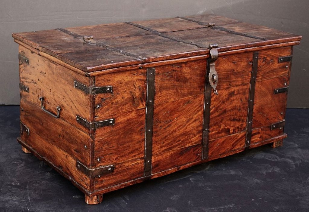 Campaign era iron bound wooden trunk at stdibs
