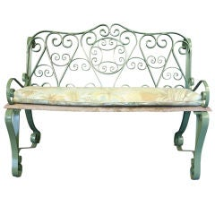 English Garden Bench of Iron with Scroll Arms