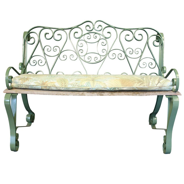 English Garden Bench Of Iron With Scroll Arms At 1stdibs