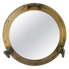 """French Ship's Porthole Mirrors of Brass (18 1/2"""" Diameter)"""