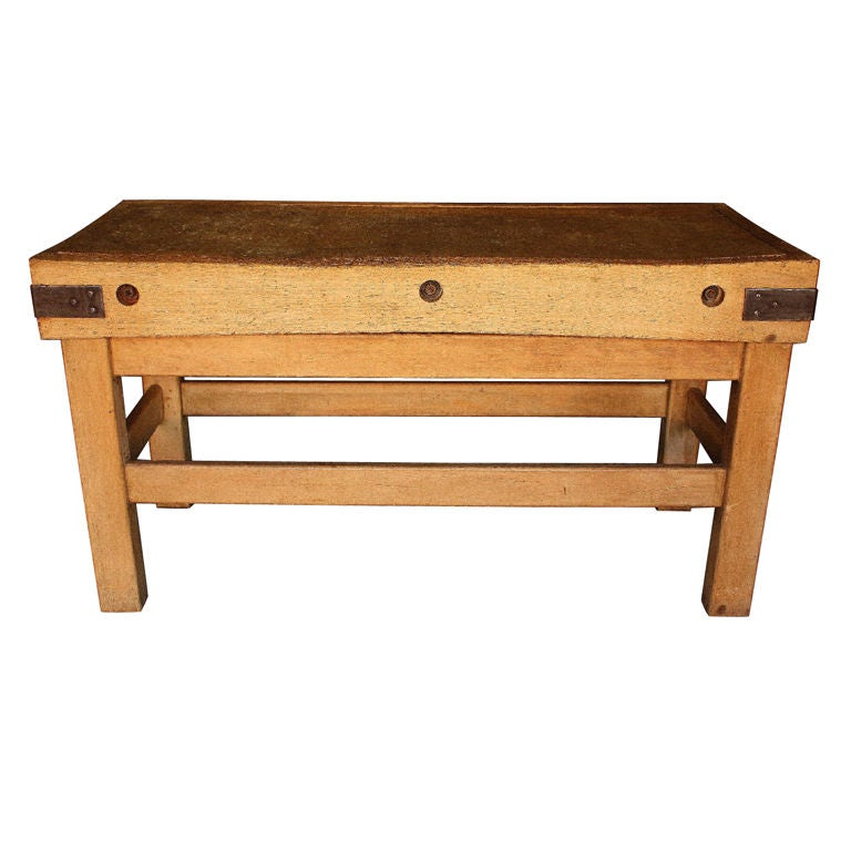 large iron bound butcher s block from england at 1stdibs